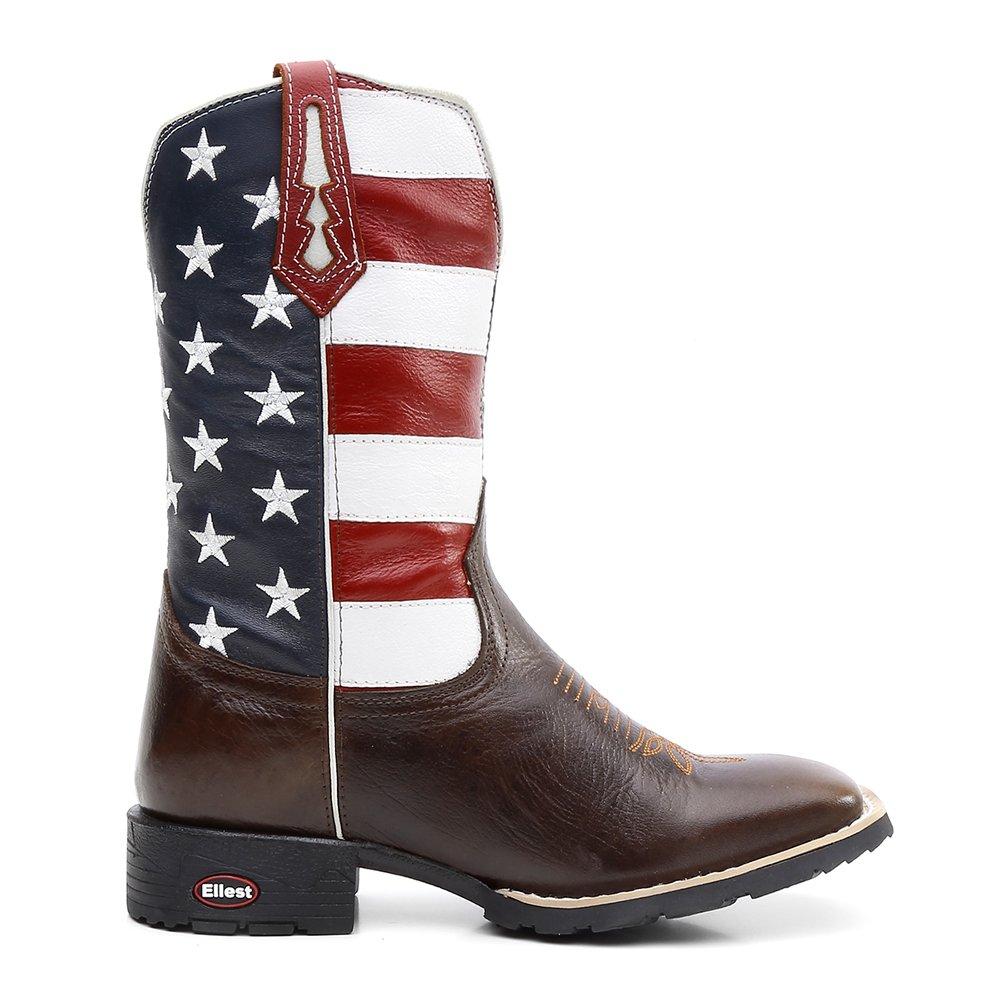 Bota Texana Bandeira Eua Bico Quadrado